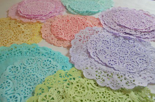 DYED doilies.......A bowl or baking dish   White doilies  Food coloring  Paper towels  Rubber gloves
