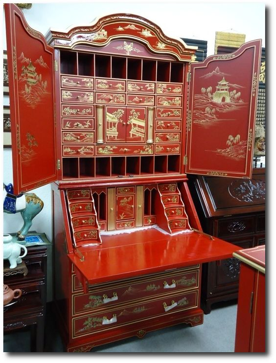 chinoiserie secretary desks and bureaus on pinterest. Black Bedroom Furniture Sets. Home Design Ideas