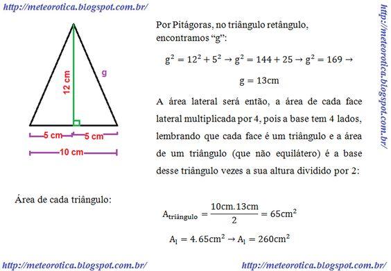 area lateral da piramide - Pesquisa Google