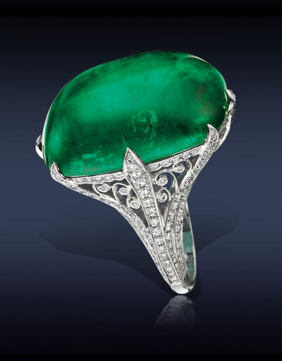 Jacob & Co. Emerald Cocktail Ring, Featuring: A Breathtaking, Gubelin & AGL Certified 42.95 Ct Colombian Emerald (Center Stone) Surrounded by 1.31 Ct White Diamonds, Mounted in Platinum.