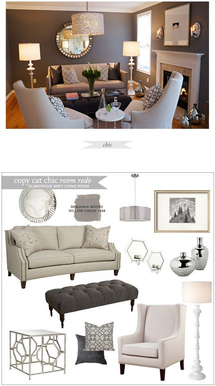Copy Cat Chic Room Redo | Glamorous Grey Living Room | Get the look for only $3,259: