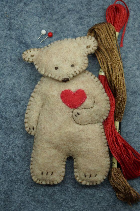 Oil Painting Heart With Teddy Bear