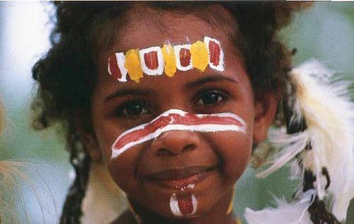 Indigenous Australian in traditional dress