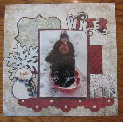 Scrapbook layout made using the Cricut and Peachy Keen Face Stamps