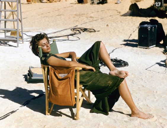 """sophia loren on the set of """"legend of the lost,"""" 1957."""