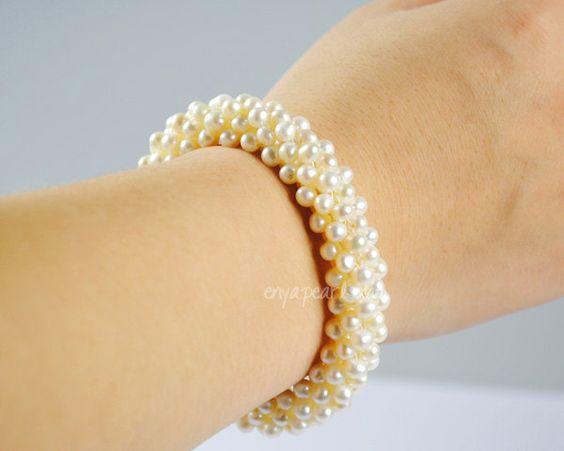 Pearl Bracelet - White 4-5mm Seed Fresh Water Pearl  Bracelet (B0081). $28.00, via Etsy.