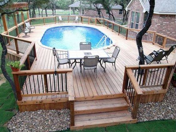 Above ground pool decks and ladders back yard for Above ground pool decks and ladders