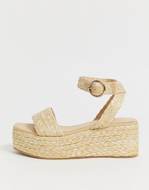 disponibilità nel Regno Unito ef098 b23dc Pimkie woven straw flatform sandals in natural   ASOS in ...