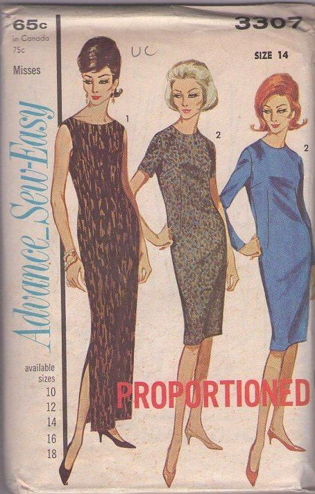MOMSPatterns Vintage Sewing Patterns - Advance 3307 Vintage 60's Sewing Pattern EASY Glam Proportioned Hawaiian Cruise Maxi Dress, Day Dress, 3 Styles Size 14