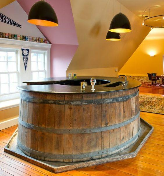 diy m bel riesiges holzfass bartresen selber bauen diy ideen home pinterest selbermachen. Black Bedroom Furniture Sets. Home Design Ideas