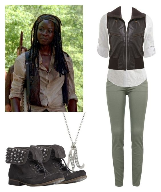 """""""Michonne - twd / the walking dead"""" by shadyannon ❤ liked on Polyvore featuring Victoria Beckham, Wet Seal, Arden B., 1928, AllSaints, women's clothing, women, female, woman and misses"""