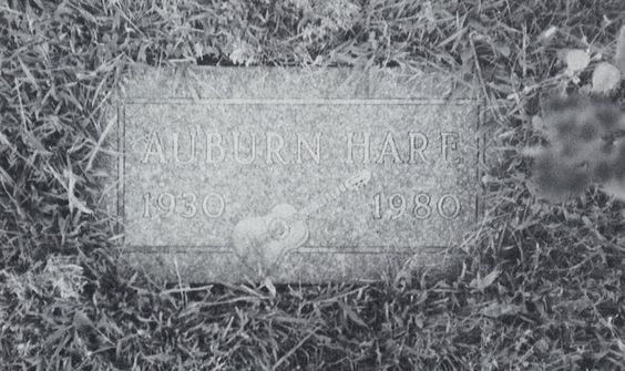 Auburn Hare's headstone at Stillwater's Fairview Cemetery, Bayport near St. Paul, Minnesota; source: Juke Blues #23 (Summer 1991), p.14; photographer: Kevin Hahn