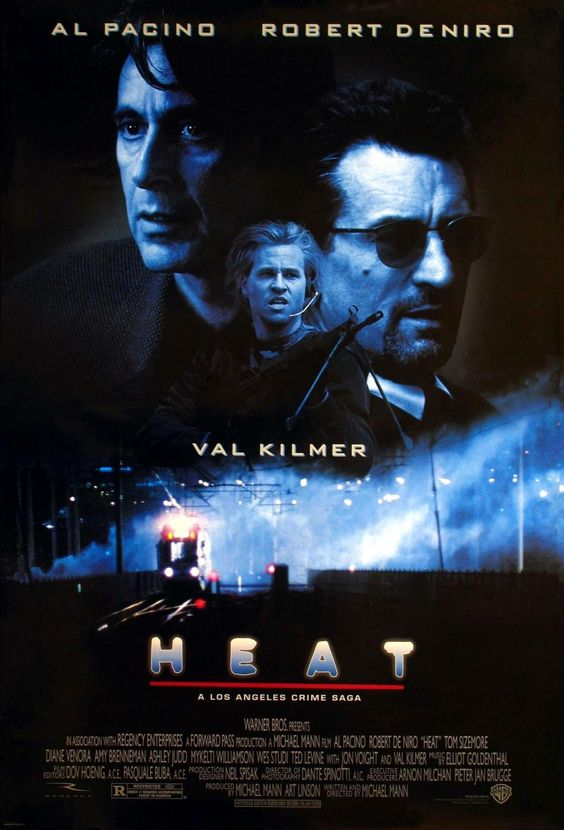 Heat (1995)  -An epic crime saga where Los Angeles becomes a central character. Features one of the very few scenes between Al Pacino and Robert De Niro, filmed at Kate Mantilini in Beverly Hills. ONe of the best action sequences ever of all time!