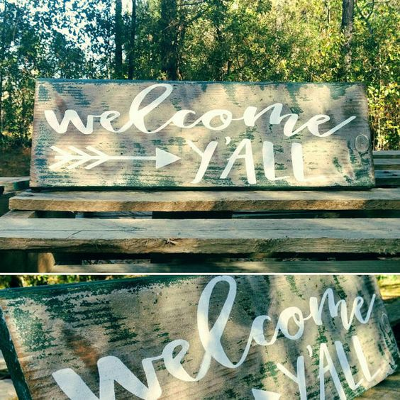 Southern Welcome y'all distressed porch pallet sign. Shabby chic vintage, farmhouse style decor FREE SHIPPING