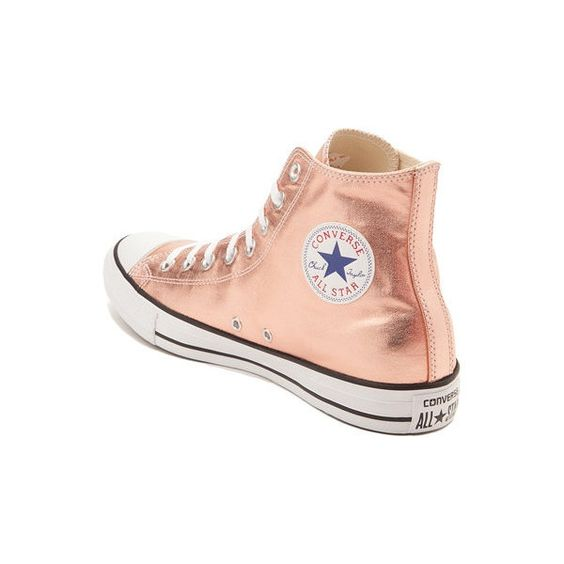 High Top Converse Rose Gold Blush Pink Metallic Glass Slippers... (285 BAM) ❤ liked on Polyvore featuring shoes, sneakers, converse sneakers, rose gold sneakers, rhinestone shoes, metallic sneakers and converse trainers
