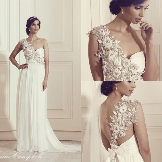 Anna Campbell 2016 Wedding Dresses Empire Elegant One Shoulder Plus Size Beaded Pearls Backless Cheap Custom Made Modest Beach Bridal Gowns Dresses For A Wedding Gown Dress From Nameilishawedding, $120.61| Dhgate.Com
