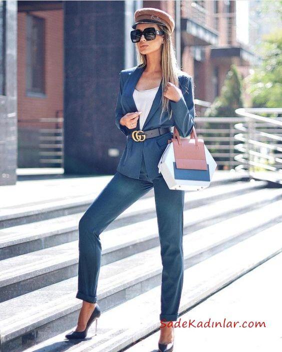 2020 Bayan Ceket Pantolon Kombinleri Lacivert Pantolon Ve Ceket Beyaz Bluz Kadin Sokak Modasi Moda Stilleri Sokak Stili