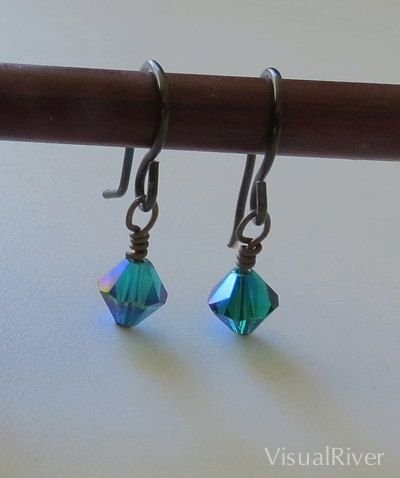 Peacock Swarovski Crystal Sparkling Dangle Earrings by visualriver, $15.00