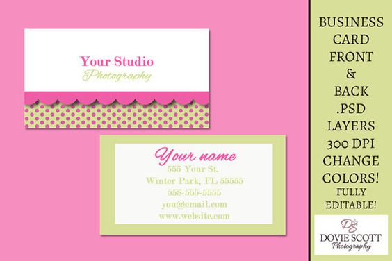 Business Card Template  Front and Back by DovieScottPhoto on Etsy, $5.29