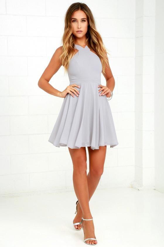 Forevermore Grey Skater Dress 9