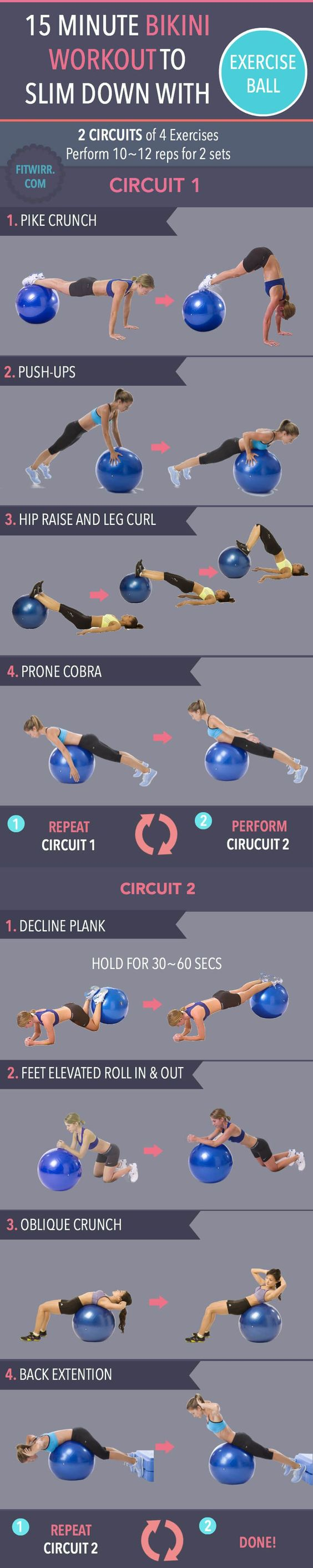 Nothing ruins a bikini look than a flabby stomach and a saggy butt. Not to worry. If your body is not bikini ready, we got you covered with this 15 Minute Bikini Ball Calorie Crusher and Fat Shredder Workout to whip your body into bikini shape.
