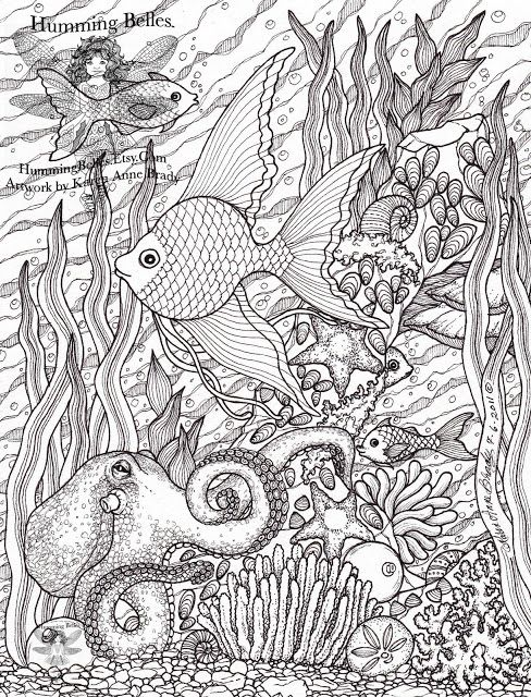 Advanced Ocean Coloring Pages : Ocean octopus fist sand dollar seaweed coloring pages
