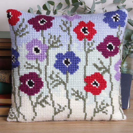 'Anemonies Cushion' Cross Stitch Cushion Kit by Twilleys of Stamford.