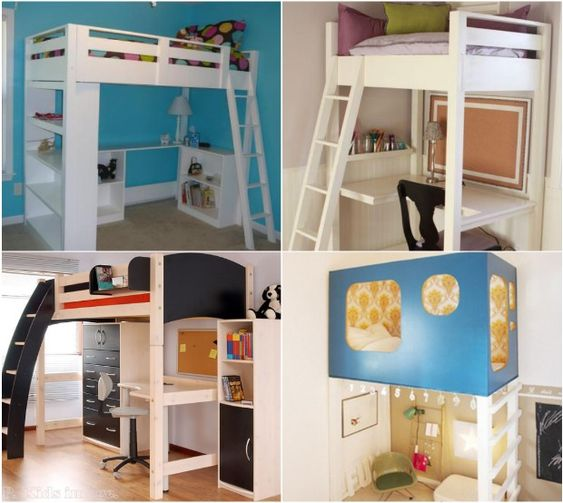 Study build a loft bed and spaces on pinterest for Study bed plans