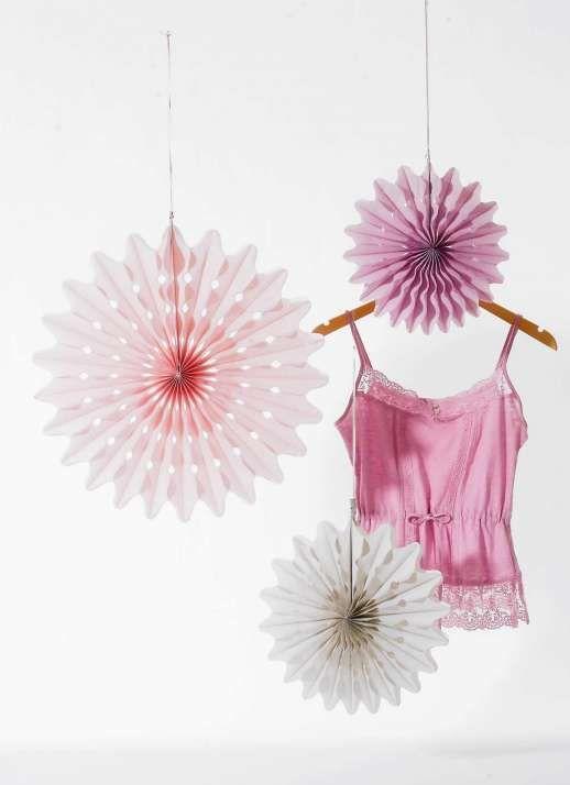 Papierrosetten max. 48 cm rosa/grau/lila