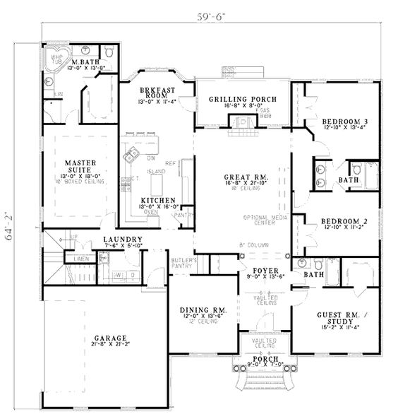 Floor plan for 2500 sq ft 1 level dream home for Floor plans 2500 square feet