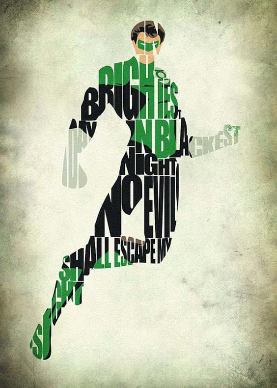 Green Lantern inspiró la impresión tipográfica de Liga de la justicia y Poster