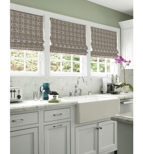 Kitchen featuring the Flat Roman Shade in Quatro Embroidery, Gray