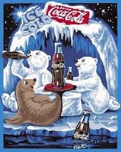 Coca-Cola with Two Polar Bears and Seal