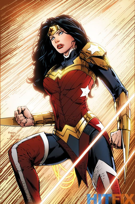 A much more dramatic redesign for Wonder Woman. Not only is she showing a lot less skin than usual, she appears to have a pair of retractable spikes in her gauntlets.