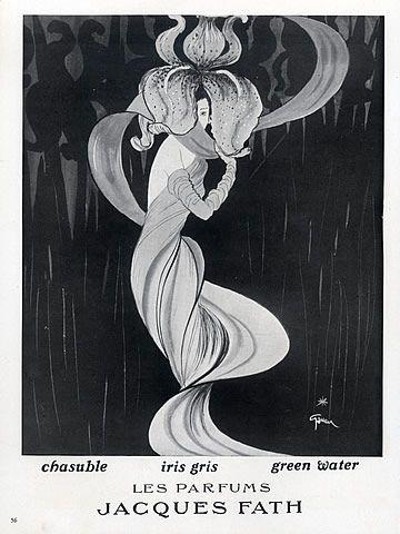 Jacques Fath (Perfumes) 1949 Iris Gris, Chasuble, Green Water, René Gruau