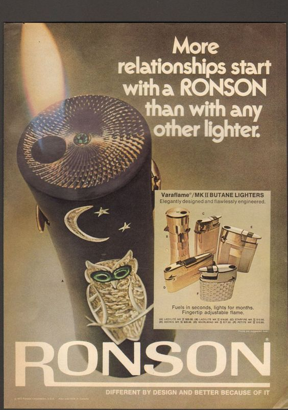 Advintage Plus - 1973 Print Advertisement Ad Ronson Lighter More relationships start with a light  , $9.99 (http://www.advintageplus.com/1973-print-advertisement-ad-ronson-lighter-more-relationships-start-with-a-light/)