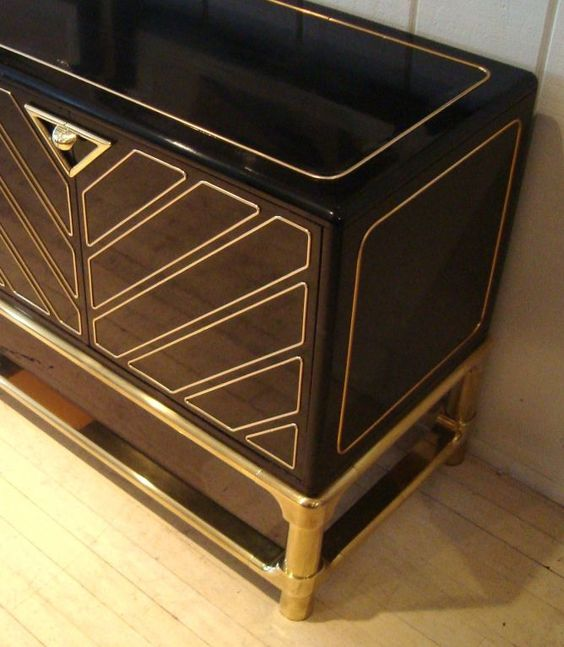 Sleek 1970's Black Lacquer and Brass Mastercraft Sideboard image 4