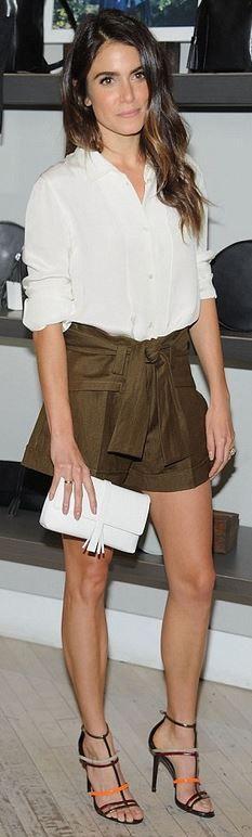 Nikki Reed: Purse – Nikki Reed x Freedom of Animals Shoes – Tamara Mellon Shirt and shorts – Iro: