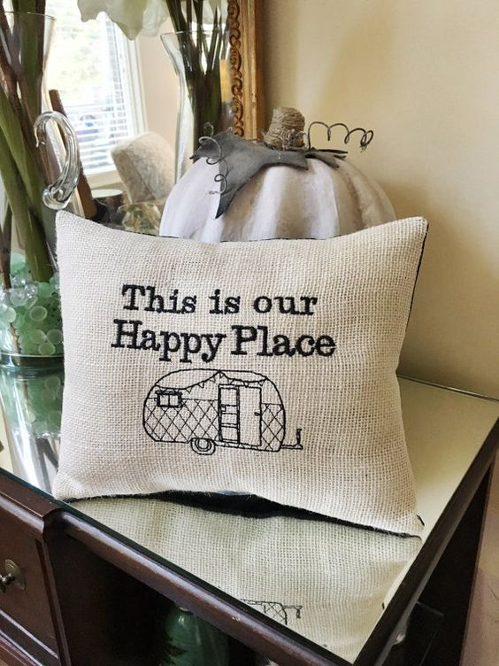 Camper Decor RV Throw Pillow, This is Our Happy Place Quote, RV Park, Vintage Theme Motorhome Travel Trailer, Rustic Style Decorating