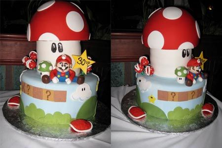 Super Mario party theme - Check out this Mushroom cake - too cute!
