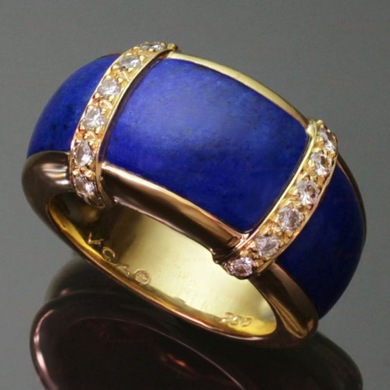 VAN CLEEF & ARPELS Diamond Lapis Lazuli Yellow Gold Ring | From a unique collection of vintage band rings at http://www.1stdibs.com/jewelry/rings/band-rings/