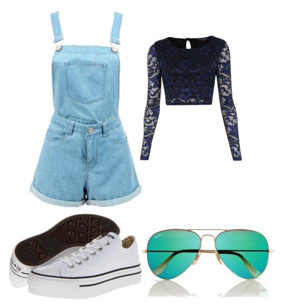 """""""Untitled #55"""" by outfits-1 ❤ liked on Polyvore featuring Miss Selfridge, Converse and Ray-Ban"""