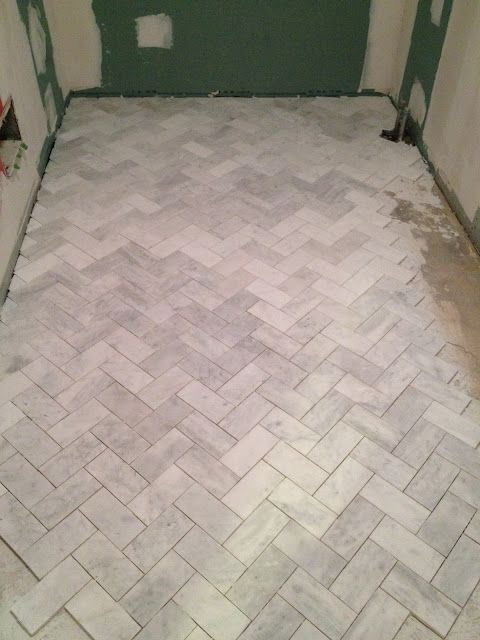Carrara Subway Tile Installed In Herringbone Pattern I