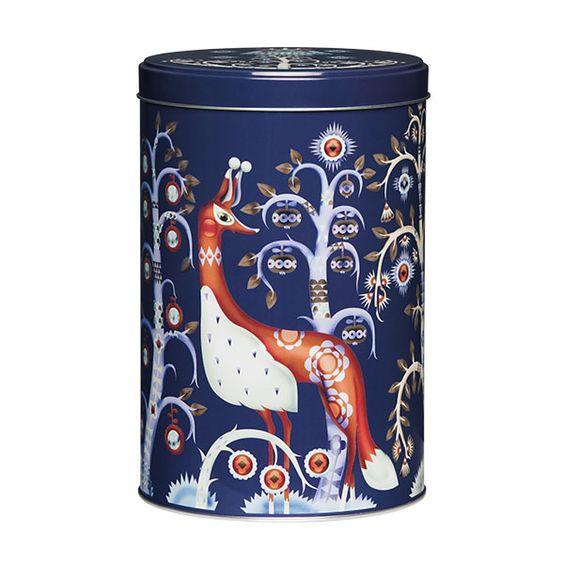 Taika tin jar 128x195 mm, blue, by Iittala.