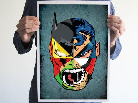 digital print comics superman batman iron man hulk spiderman wolverine captain america art poster 1500 batman superman iron man