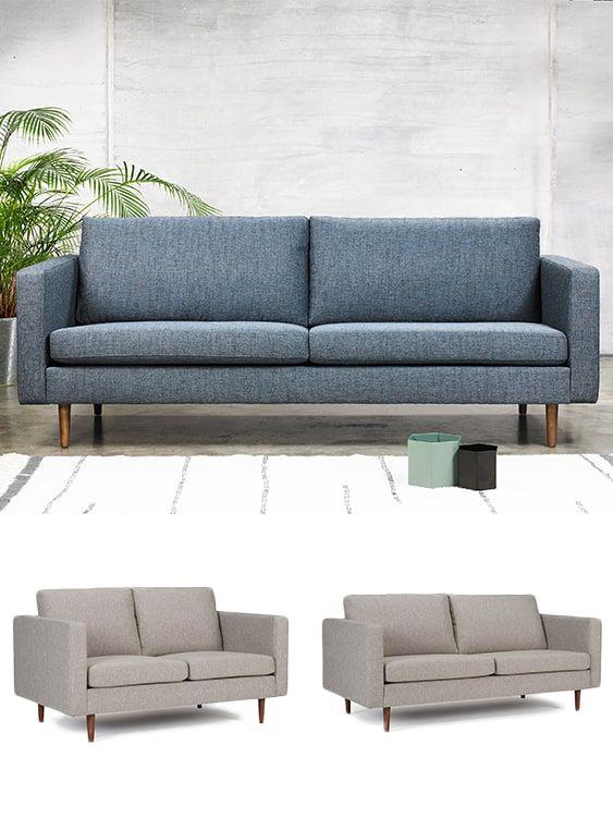 Halmstad 3 Sitzer Designer Sofa Mit Polsterarmlehnen Und Holzfussen