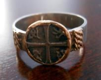 17th Century Atocha Coin Ring - Solid 14K Gold & Sterling Silver - FREE SHIPPING  it is real!! awesome