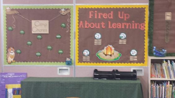 Camping themed bulletin boards