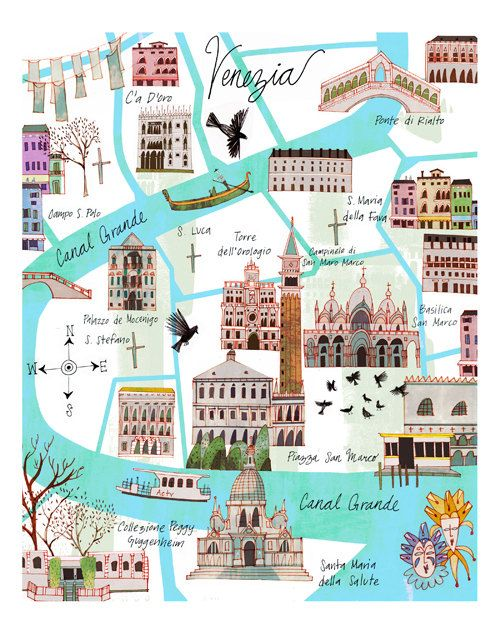 Carte de Venise 11 x 14 par josieportillo sur Etsy