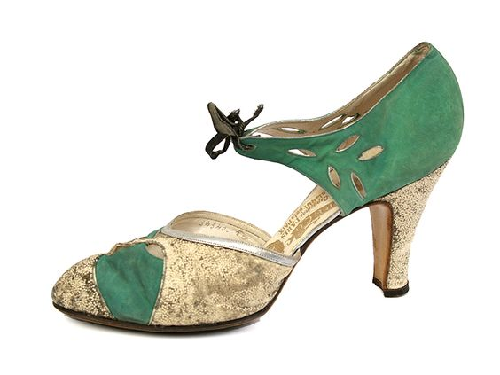 1920s N. Greco... Lady's Shoes with Suede and Textile Upper and High Heel.